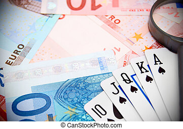 Poker, magnifier for euro banknotes