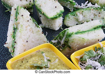 A serving of sandwich dhokla