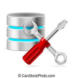 Database icon - Configuring Database with tools Illustration...