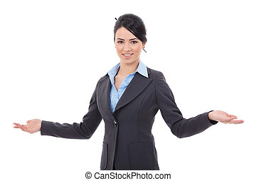 business woman welcoming - Business woman with her arm out...