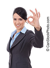 business woman indicating ok sign