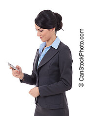 business woman texting - portrait of a happy young business...