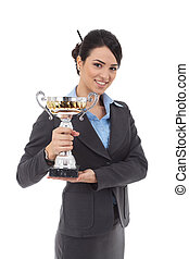 young business woman winning a trophy