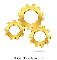Cogwheel - Three gears connected together Illustration on...
