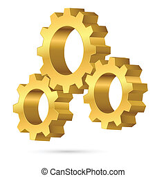 Cogwheel - Three gears. Illustration on white background for...