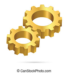 Cogwheel - Two gears Illustration on white background for...