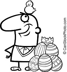 man with easter eggs and chicken cartoon