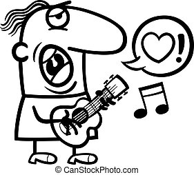 man singing love song for valentines day - Black and White...