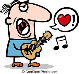 man singing love song for valentines day - Cartoon...