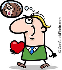 man with his valentine cartoon illustration