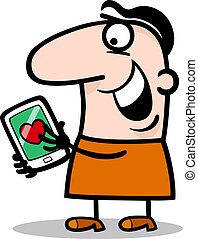 man with love message on tablet cartoon
