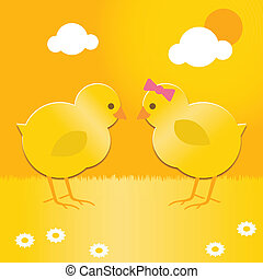 easter chicks - a cute pair of spring chicks for easter