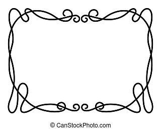 simple black ornamental decorative frame - Vector simple...