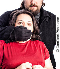 Woman being assaulted - Isolated photo of a woman in red...