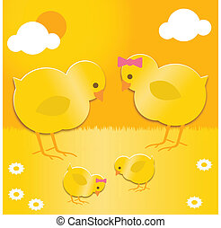 easter chicks family - a pair of Easter chicks with their...