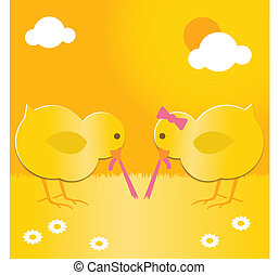 easter chicks with worm - two cute easter chicks pulling the...