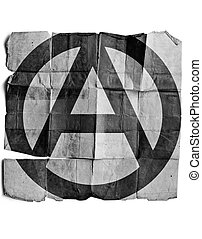 Anarchy sign on old paper.