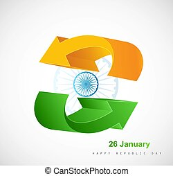 Indian flag stylish tricolor arrow vector design