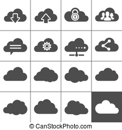 Cloud Computing Icons. Collection of cloud signs. Each icon...