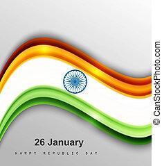 beautiful shiny stylish indian flag wave vector illustration