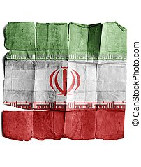 Iran flag on old paper