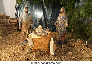 Nativity scene - Baby jesus mary and joseph nativity scene
