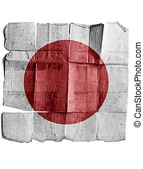 Japanese flag on old paper