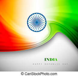 Indian flag background with creative wave colorful design