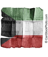 Kuwait flag on old paper.