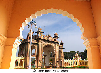 Entrance of majestic mysore palace from an arch. The palace...