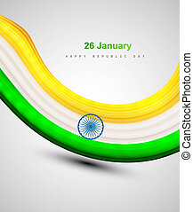 Indian shiny flag colorful bright tricolor wave vector