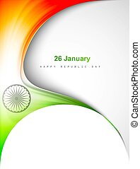 indian flag in creative wave stylish design