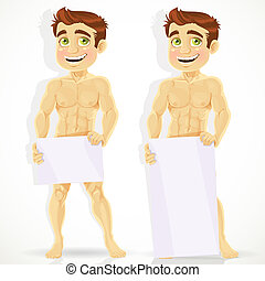Cute naked man with posters