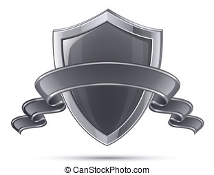 Shield symbol - Steel shield. 100% Protection concept....