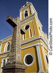Cathedral de Granada Nicaragua - Stone cross next to the...
