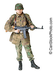 soldier with submachine gun isolated on white background -...