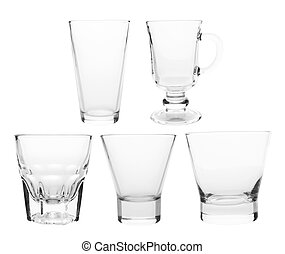 glasses -  glass collection isolated on a white background