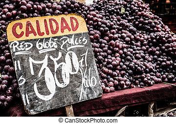 Chile, Uppe, stå, Druvor, nära, marknaden
