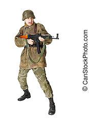 soldado, retoños, submachine, arma de fuego, aislado,...