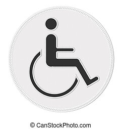 Disabled icon sign with stitch style on fabric background