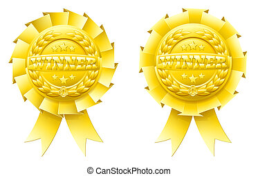 Gold winner rosettes