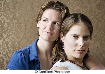 Two Women - Portrait of Two Pretty Young Women Friends