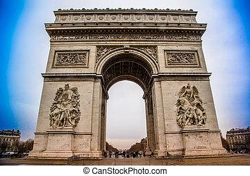 Arc de Triomphe (Paris, France). - Avenue des Champs-Elysses...