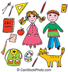 School set - kids and objects funny icons