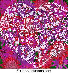 Love valentine background with heart - vintage design