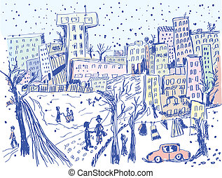 City street in winter - sketch of scene