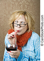 Crazy Woman Drinking Wine - Crazy woman with crossed eyes...