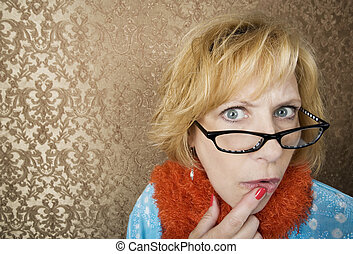 Crazy Woman - Crazy woman with glasses suspiciouly eyeing...