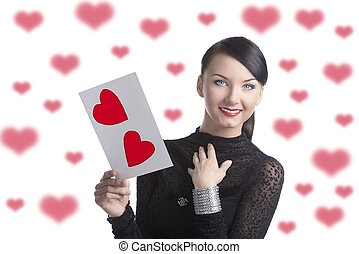 pretty brunette with valentine postcard smiles