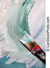 Mixing painting on the canvas and paintbrush - Oil mixing...